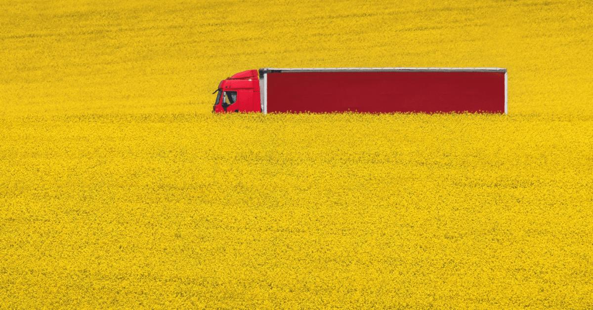 Камион насред жълти полета