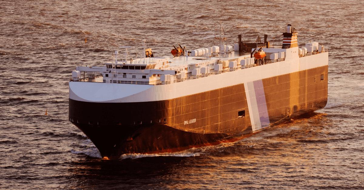 Изображение на товарен кораб тип Автомобиловоз